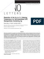 Reductionn of the FCC to L10 Ordering Temperature for Self Assembled FePt Nano Particles Containing Ag