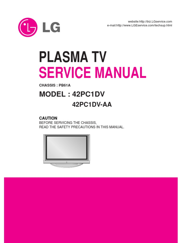 Service Manuals LG TV PLASMA 42PC1DV 42PC1DV Service Manual | Hdmi |  Electronic Engineering
