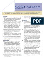 Role and function of departmental Chief Scientific Advisers: