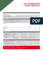 Aca Examination Entry Form 2011