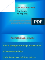 Software Architectures SSZG653 08Aug2011 Lecture III