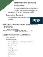 Week #. 4 Basic EOQ Model