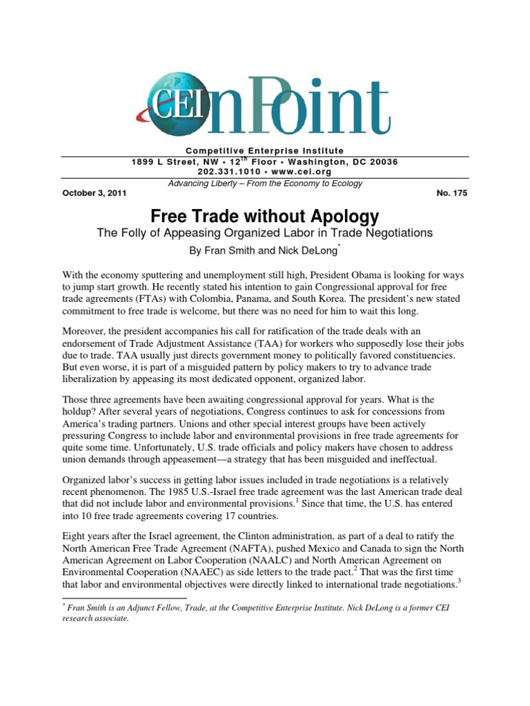 Fran Smith And Nick Delong Free Trade Without Apology Trade