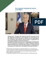 Discurso Presidencial Sebastián Piñera da a conocer Proyecto de Ley de Presupuesto 2012