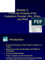 Module3, Front-End Analysis of the Evaluation Process Why, When and What