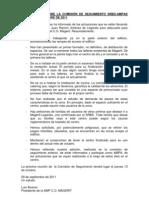 Información sobre la Comisión de Seguimiento del 29-9-11