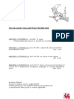 Programme Animations Octobre 2011