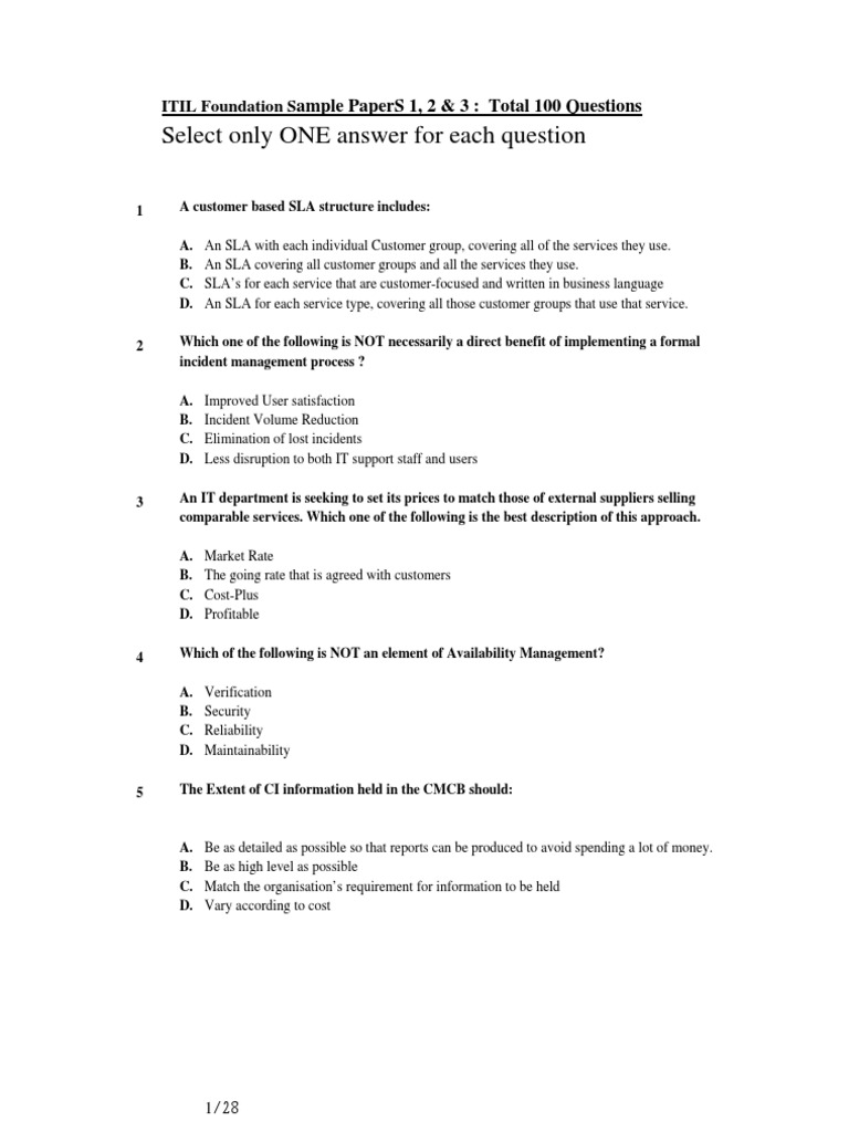 Itil Foundation 100 Sample Questions Itil Service Level Agreement