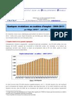 Evolution en matière d'emploi 2005-2011