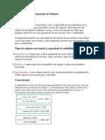 pre relatorio de preparação de soluções