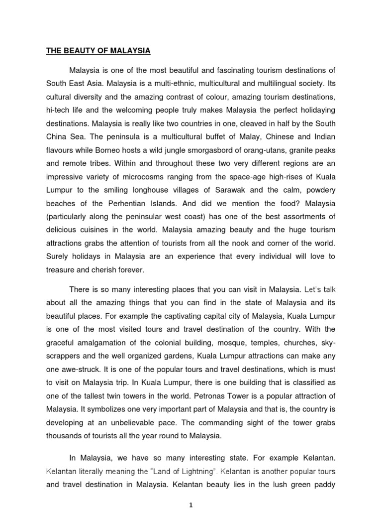 tourism in malaysia essay Tourism industry in malaysia tourism essay - ukessayscom tourism tourism industry in malaysia tourism essay tourism essay this essay has been submitted by.