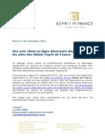 Online reviews on the hotels Esprit de France websites