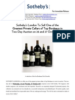 Sotheby's London To Offer One of the Greatest Private Cellars of Top Bordeaux
