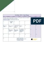 October 2011 San Diego Class Calendar