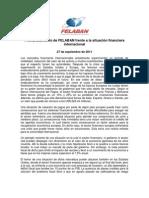 Pronunciamiento de FELABAN frente a la situación financiera internacional