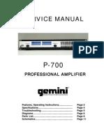 Gemini - Amplifier P-700 - Service Manual