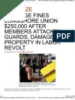 Federal Judge Fines Longshore Union $250,000 for Labor Revolt Tactics