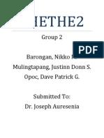 CHETHE2 Group 2 Barongan Mulingtapang Opoc)