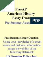 AP FR B4 Summer PreTest