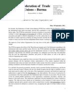 2011 September 30 FTUB Statement on U Thein Sein Government Labour Organization Law