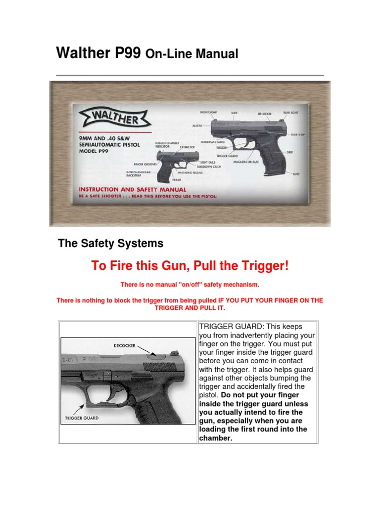 Firearms - ! - Manual - Walther P99 Pistol   Trigger