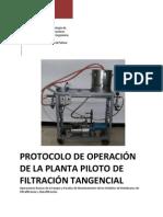 Protocolo de Operación de la Planta Piloto de Filtración Tangencial