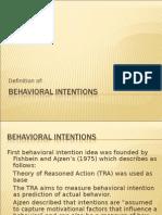 Behavioral Intentions