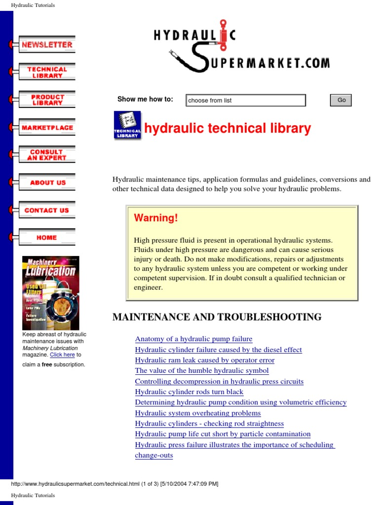 Hydraulic Technical Library | Pump | Mechanical Engineering