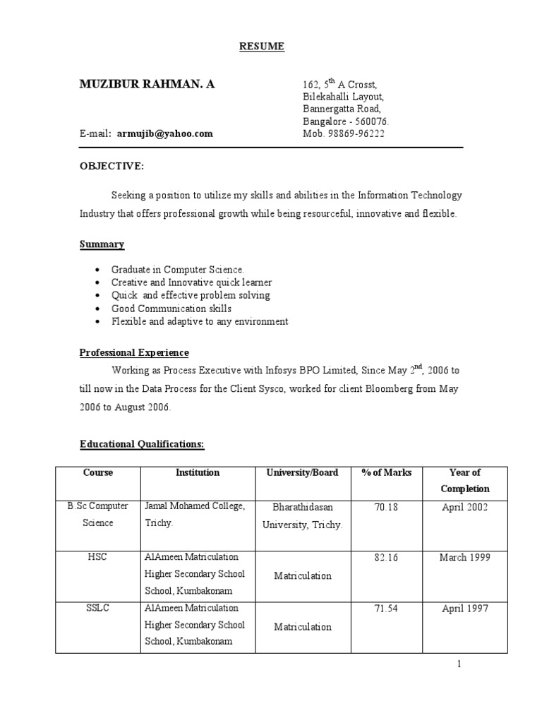 Bsc Resume   Oracle Database