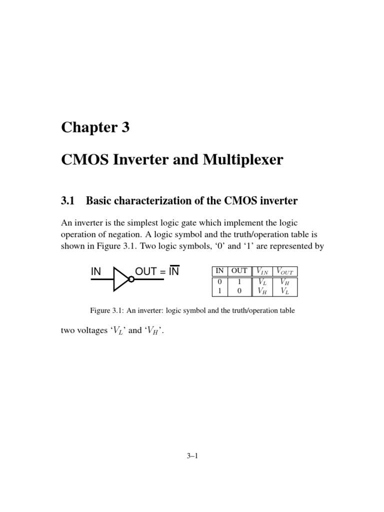 Cmos Inverter Symbol Mosfets And Elec2210 V10 Documentation C03 Mosfet