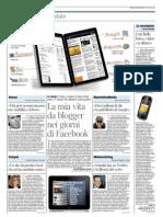 Corriere della Sera - la mia vita da blogger nei giorni di Facebook