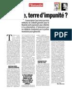 La France terre d'impunité ? L'Humanité - 30/09/2011