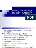Writing the Findings' Chapter - Chapter 4