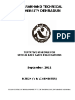 Third Year Schedule for Special Back Paper Sem-sept-2011