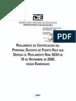 Anejo 63 - Reglamento de Certificación del Personal Docente