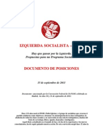 IS-PSOE. Documento de Posiciones. 15-09-2011.-