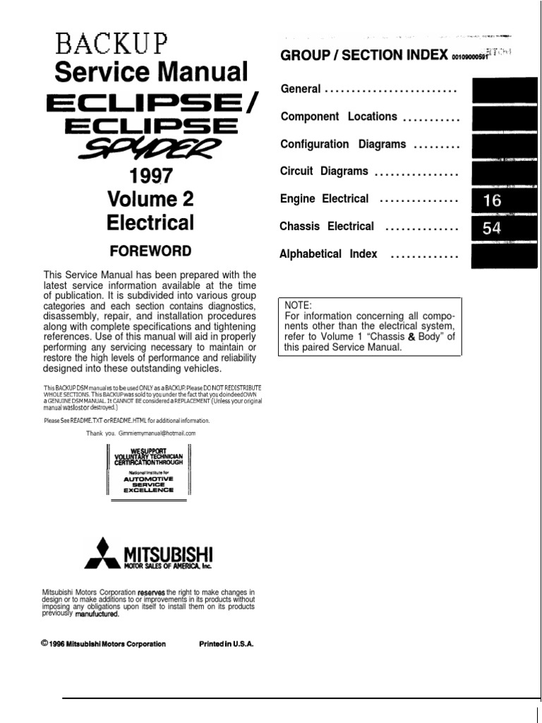97 99 mitsubishi eclipse electrical manual troubleshooting rh scribd com 12 Volt Alternator Wiring Diagram Chevy Alternator Wiring Diagram
