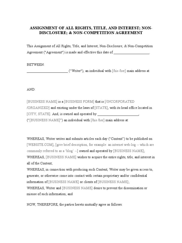 Assignment Of Copyright Non Disclosure Agreement Non