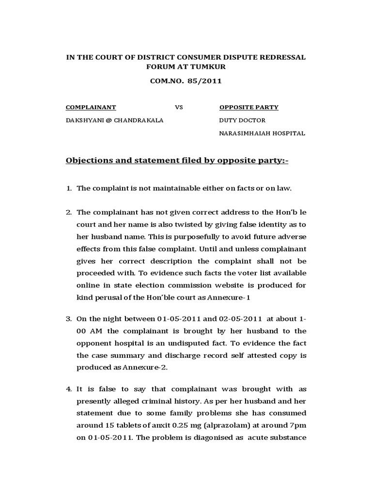 Consumer court written statement and arguments defending doctor in consumer court written statement and arguments defending doctor in negligence allegations affidavit negligence spiritdancerdesigns Images