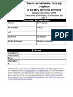 BERSO Sa KALSADA Registration Form PPs/PDs Category
