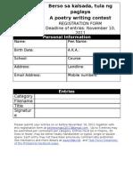 BERSO Sa KALSADA Registration Form Students Category