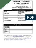 TINAMAAN KA NG LENTE Registration Form Students Category
