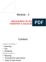Module - 3 Mgmt of Sales Territory & Sales Quota