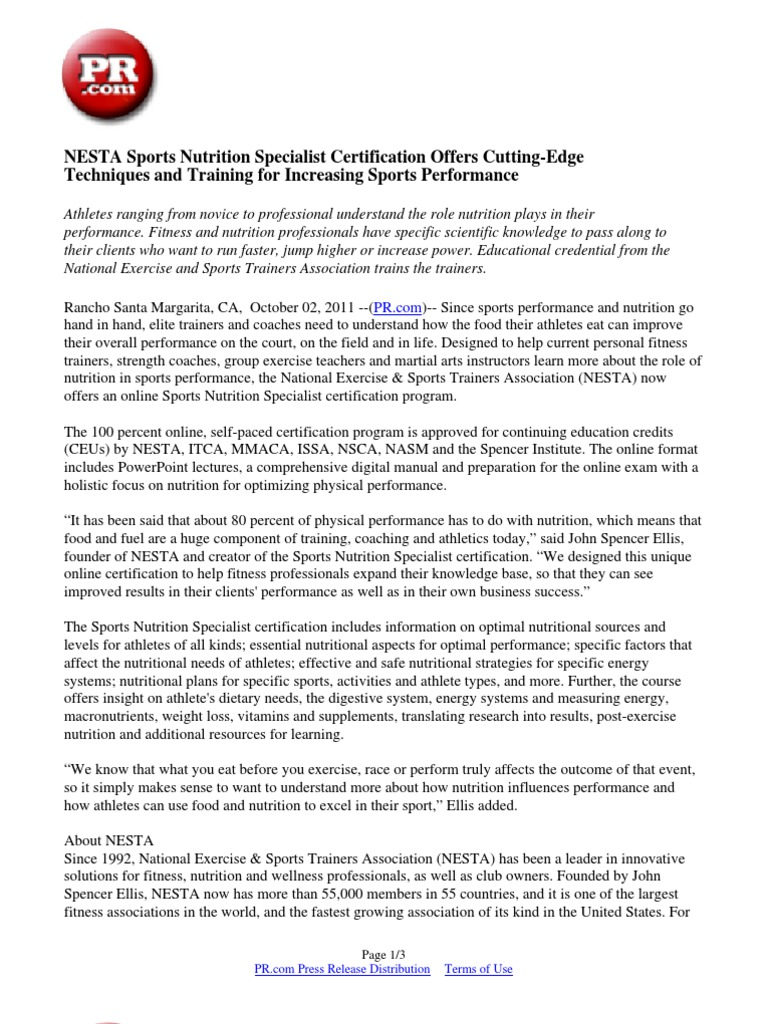 Nesta Sports Nutrition Specialist Certification Offers Cutting Edge