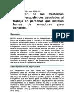 Disminución de los trastornos musculoesqueléticos asociados al trabajo en personas que instalan barras de armaduras para concreto