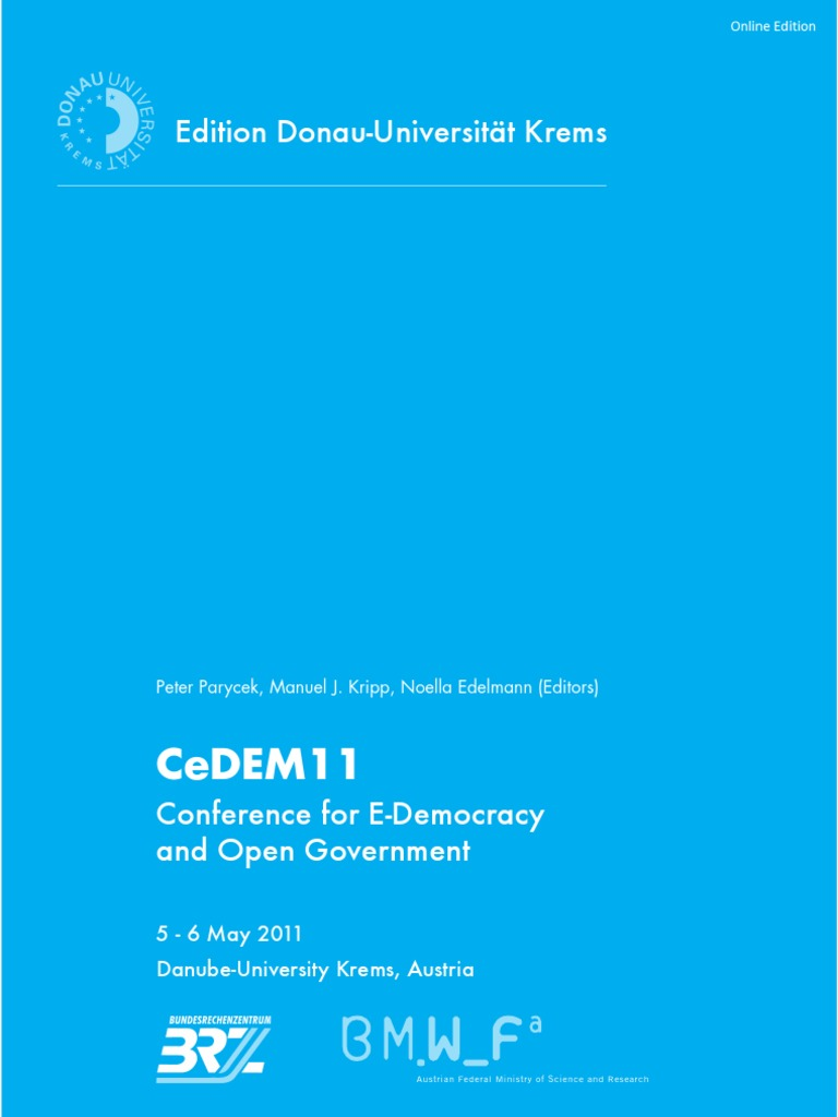 CeDEM11: Conference for E-Democracy and Open Government. 5-6 May ...