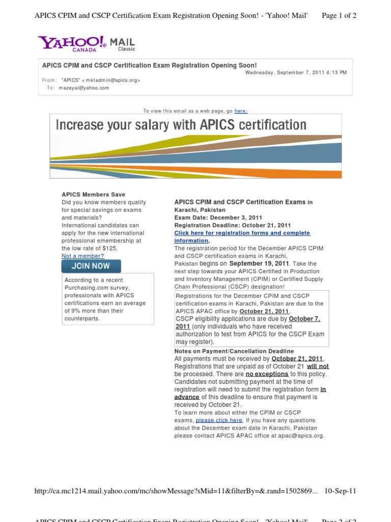 Apics Cscp Dec2011 Test 10se11 Professional Certification Test