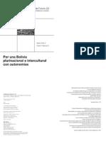 Cuaderno de Futuro Nº 22. Por una Bolivia plurinacional e intercultural con autonomías