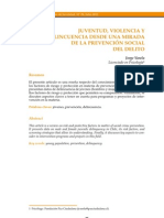Juventud Violencia y Delincuencia Desde Prevencion Social Del Delito (Paz Ciudadana