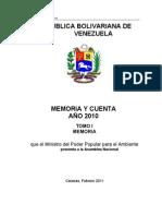 MEMORIA Y CUENTA 2010
